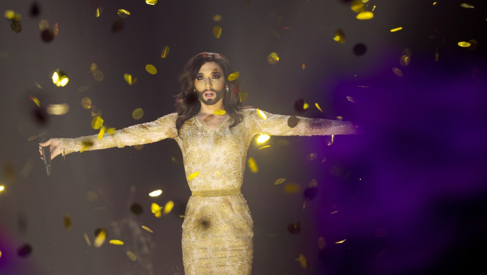 COPENHAGEN, DENMARK - MAY 10: Conchita Wurst of Austria performs on stage after winning the Eurovision Song Contest 2014 on M