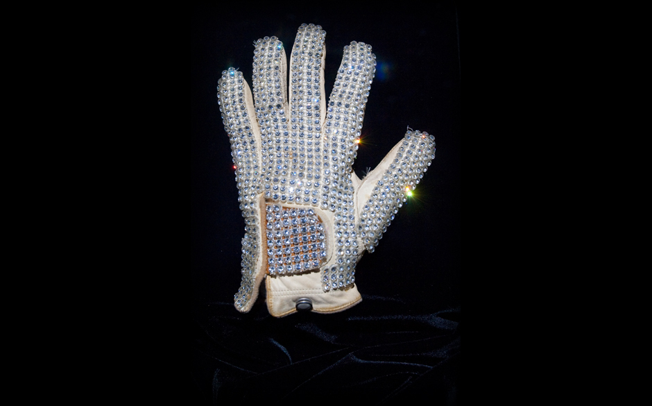 MACAU, CHINA - FEBRUARY 01:  The iconic white rhinestone glove worn by Michael Jackson at the 1983 Motown 25 Television Speci