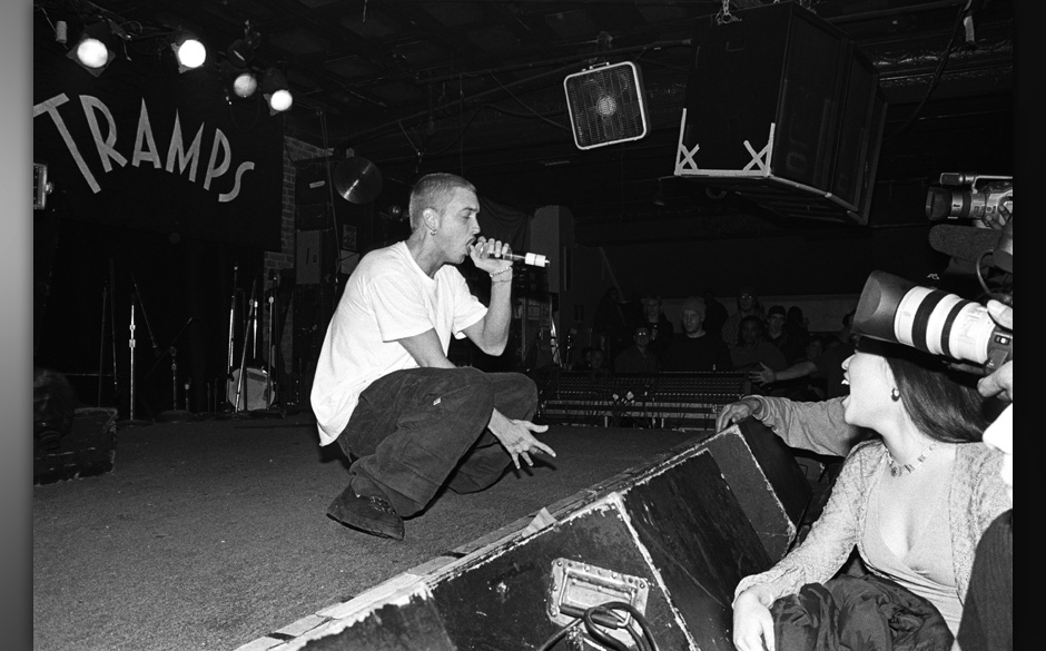 NEW YORK - MARCH 1999:  Rapper Eminem performs at Tramps in March 1999 in New York City, New York. (Photo by Catherine McGann