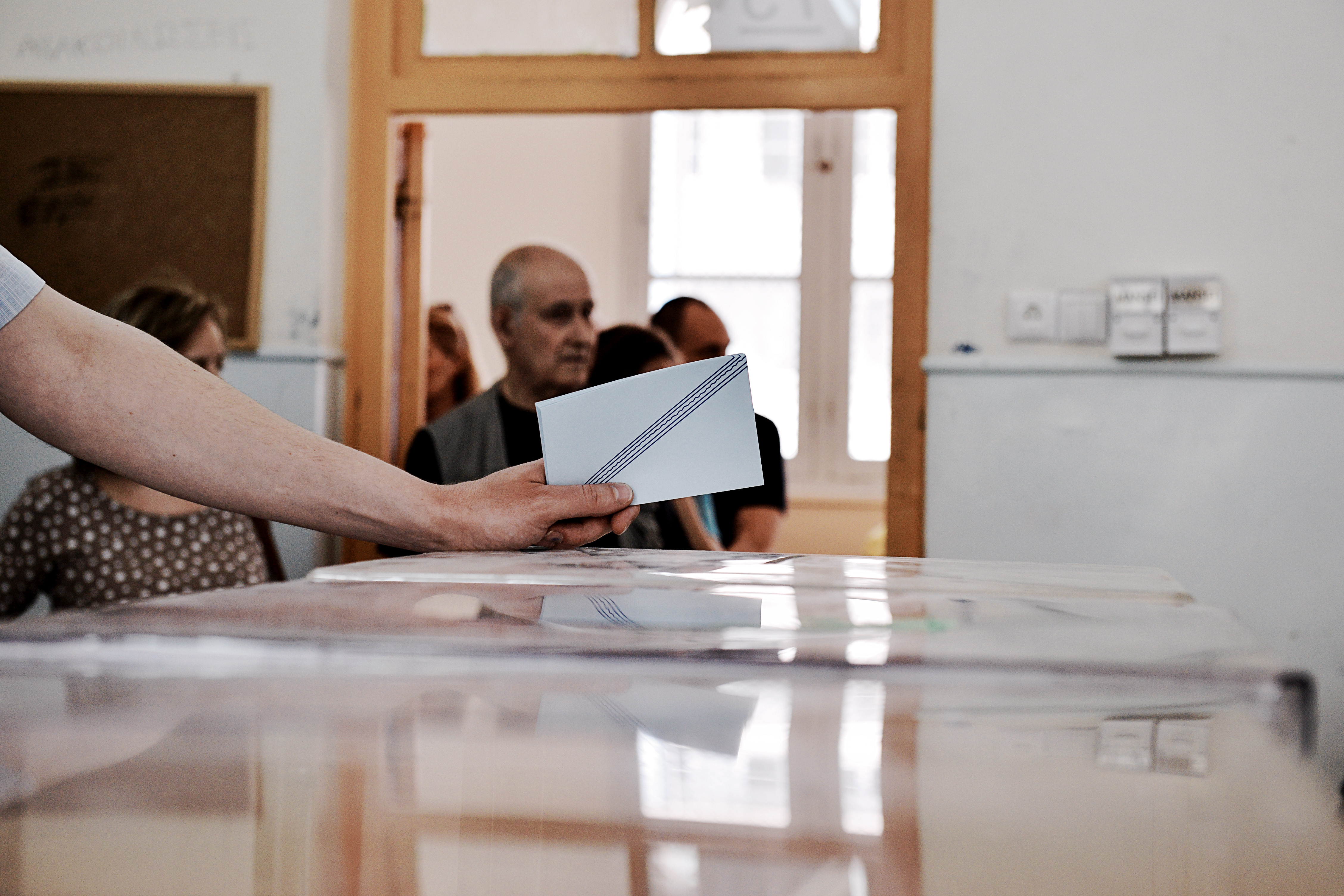 THESSALONIKI, GREECE - 2014/05/25: Citizens of Greece vote for the Euro Elections and the second round of the Municipality el