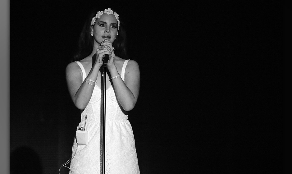 TURIN, ITALY - MAY 03:  (EDITORS NOTE: Image has been converted to black and white.) Singer Lana Del Rey performs on stage at