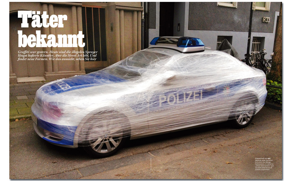 Street Art: Graffiti war gestern Sie wickeln Polizeiautos in Frischhaltefolie, kleben Kacheln auf Hauswände und werden von K