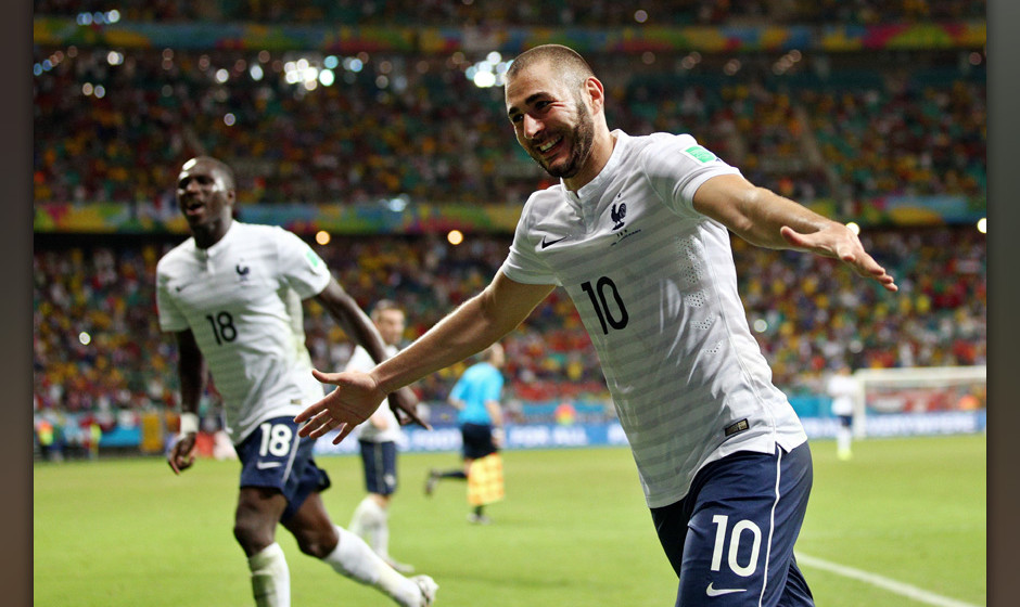 SALVADOR, BRAZIL - JUNE 20:  Karim Benzema of France celebrates a goal that came after the referee had blown full time during