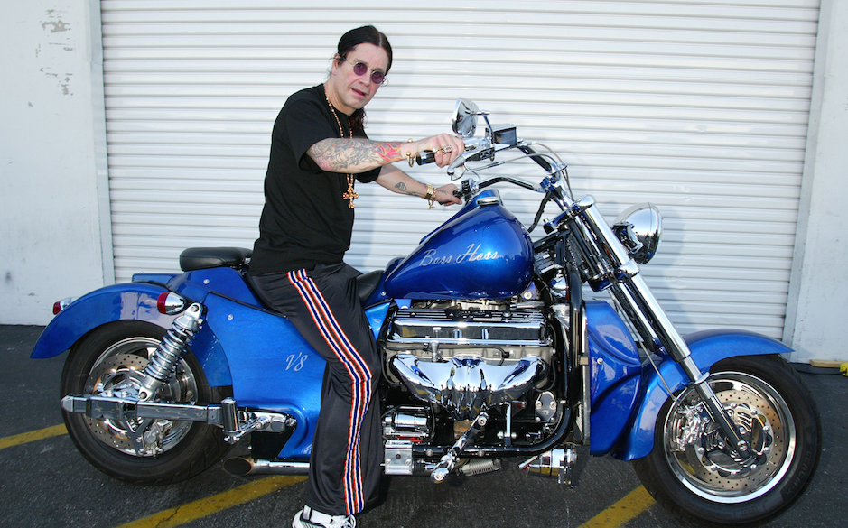 Ozzy Osbourne signs a 2003 Boss Hoss motorcycle for B.A.D.D. -Bikers Against Drunk Drivers to be given away in a raffle. More