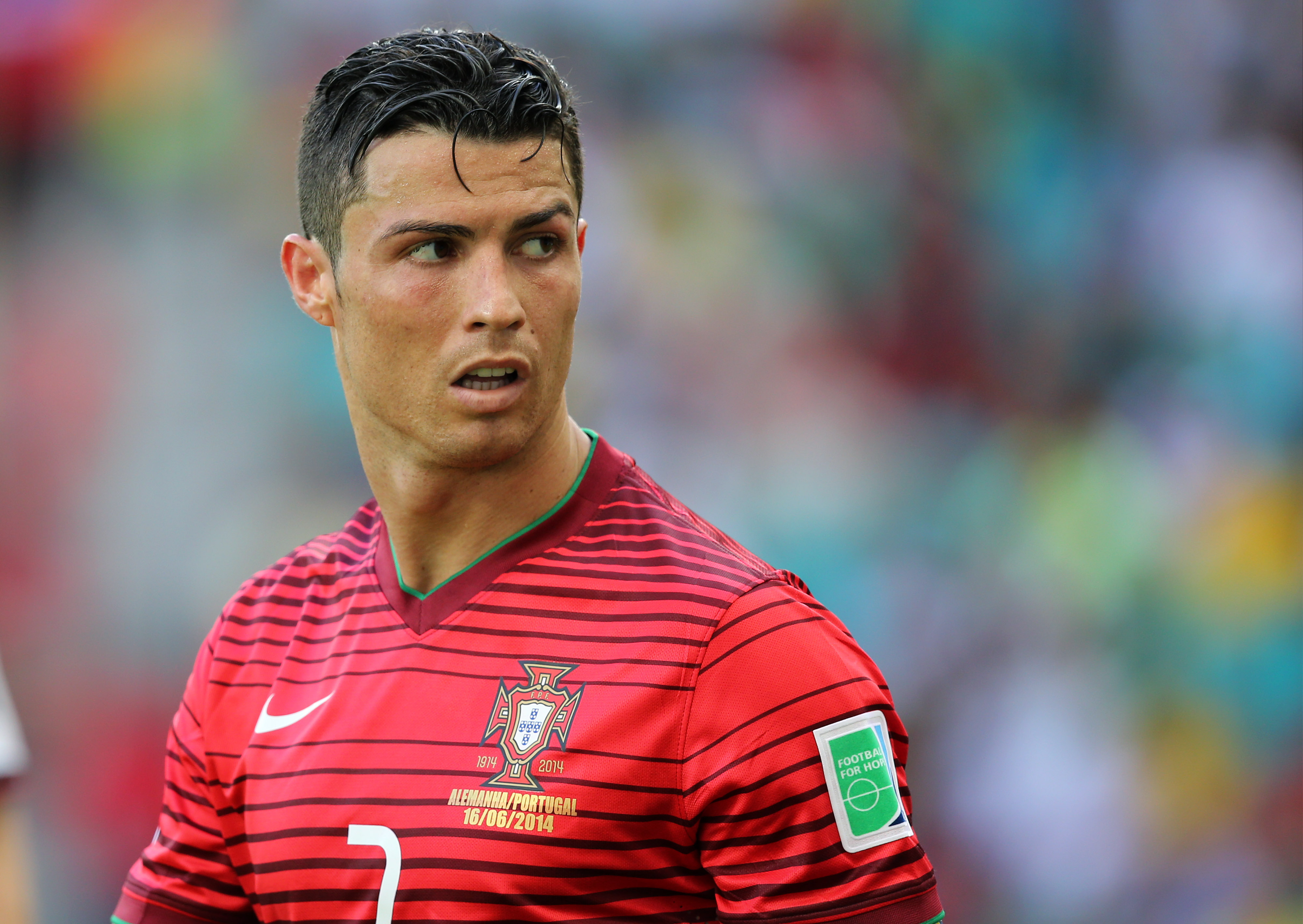 SALVADOR, BRAZIL - JUNE 16: Cristiano Ronaldo of Portugal looks on during the 2014 FIFA World Cup Brazil Group G match betwee