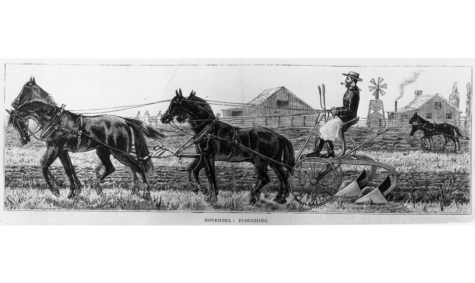 circa 1850:  November sees the ploughing of fields by wheat farmers in California.  (Photo by Hulton Archive/Getty Images)
