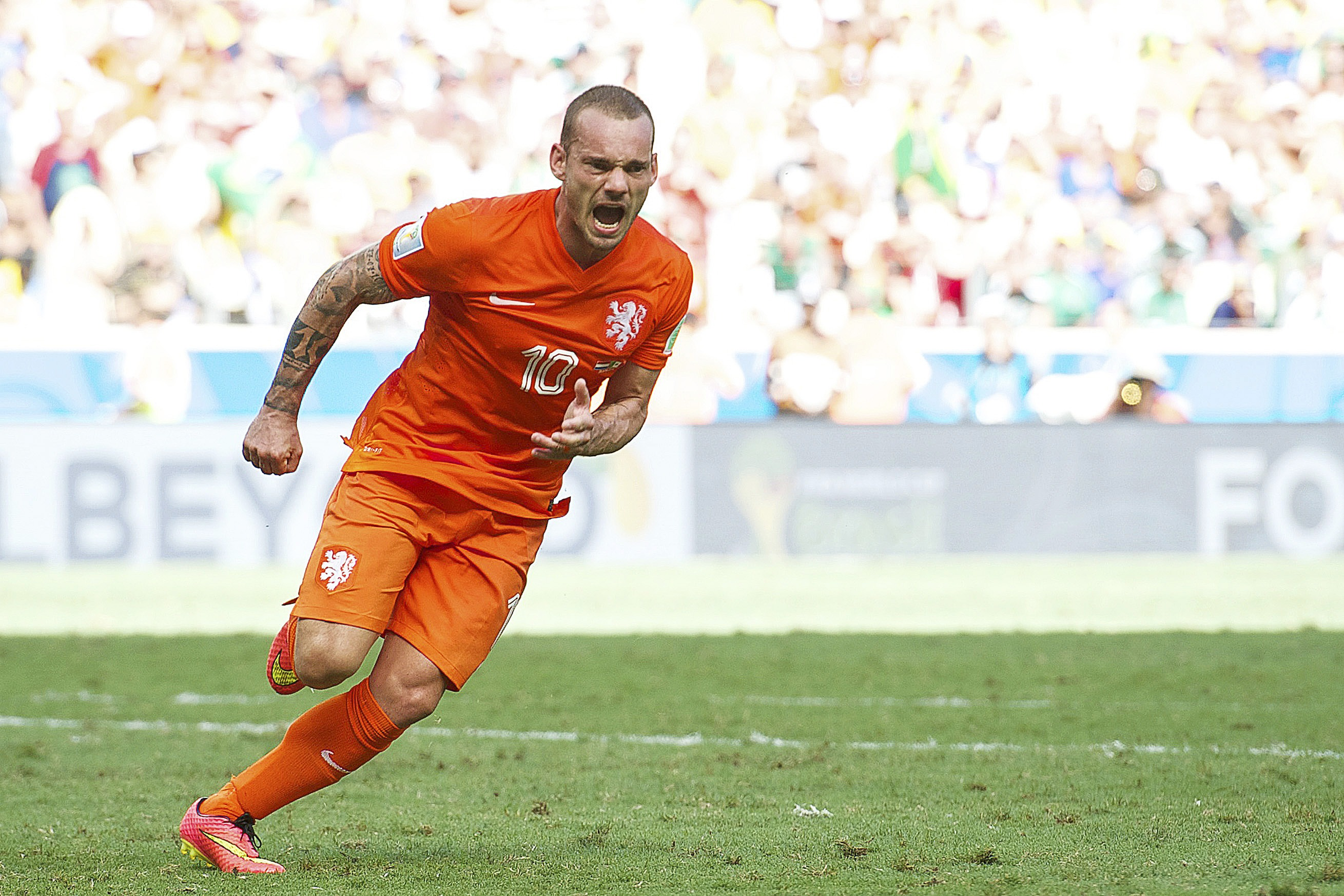 Wesley Sneijder of Holland during the 1/8 final match between The Netherlands and Mexico on June 29, 2014 at Estadio Castelao