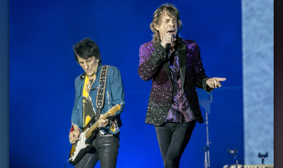 ROSKILDE, DENMARK - JULY 03:  Mick Jagger and Ronnie Wood from the Rolling Stones headline the Roskilde Festival 2014 on July