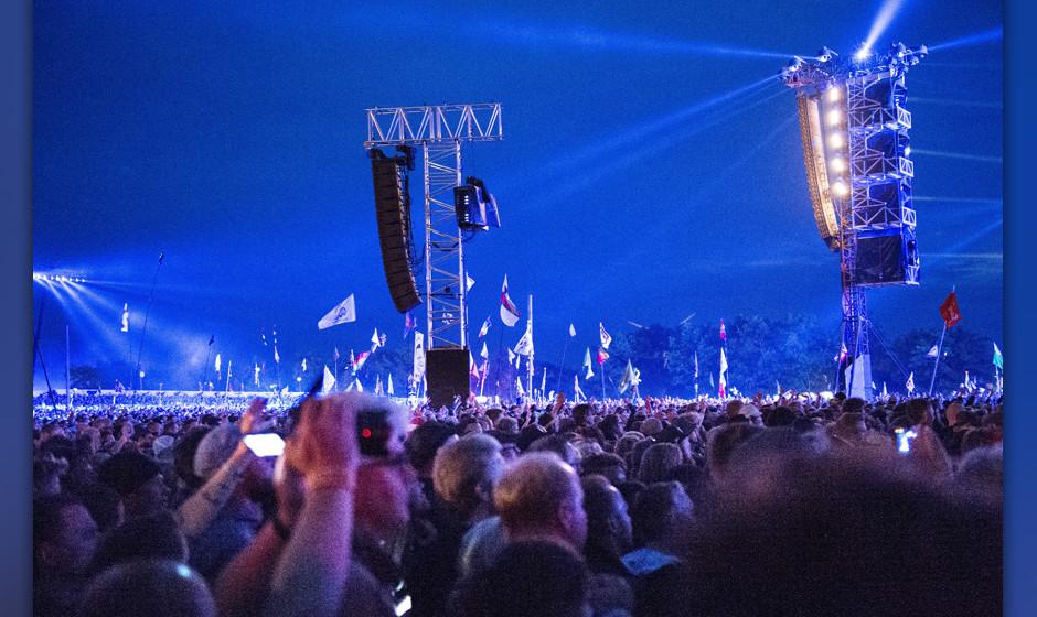 British band The Rolling Stones open the Orange Stage at the Roskilde Festival 2014, southwest of Copenhagen, Denmark, 03 Jul