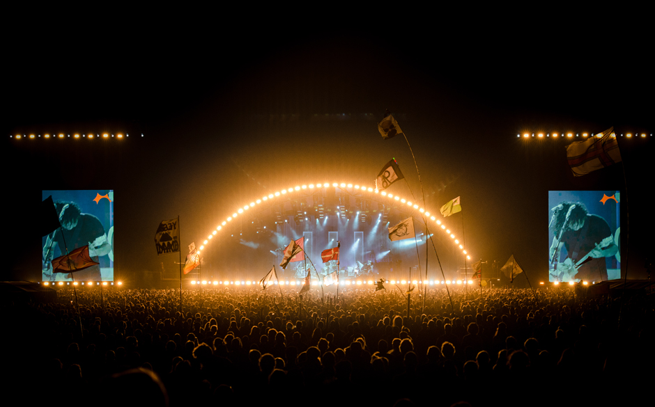 So sah die Roskilde-Bühne beim letzten Sonntagskonzert aus (Jack White)
