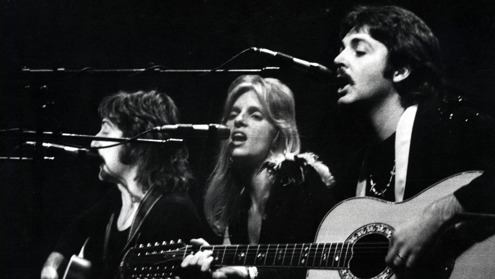 Paul McCartney and Linda McCartney during Wings in Concert - October 19, 1976 at Wembly Empire Pool in London, United Kingdom
