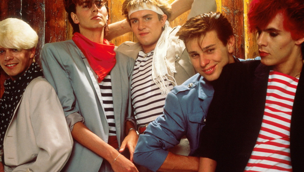 Group Portrait of British band Duran Duran in London, England in 1981. Left to right guitarist Andy Taylor, bassist John Tayl