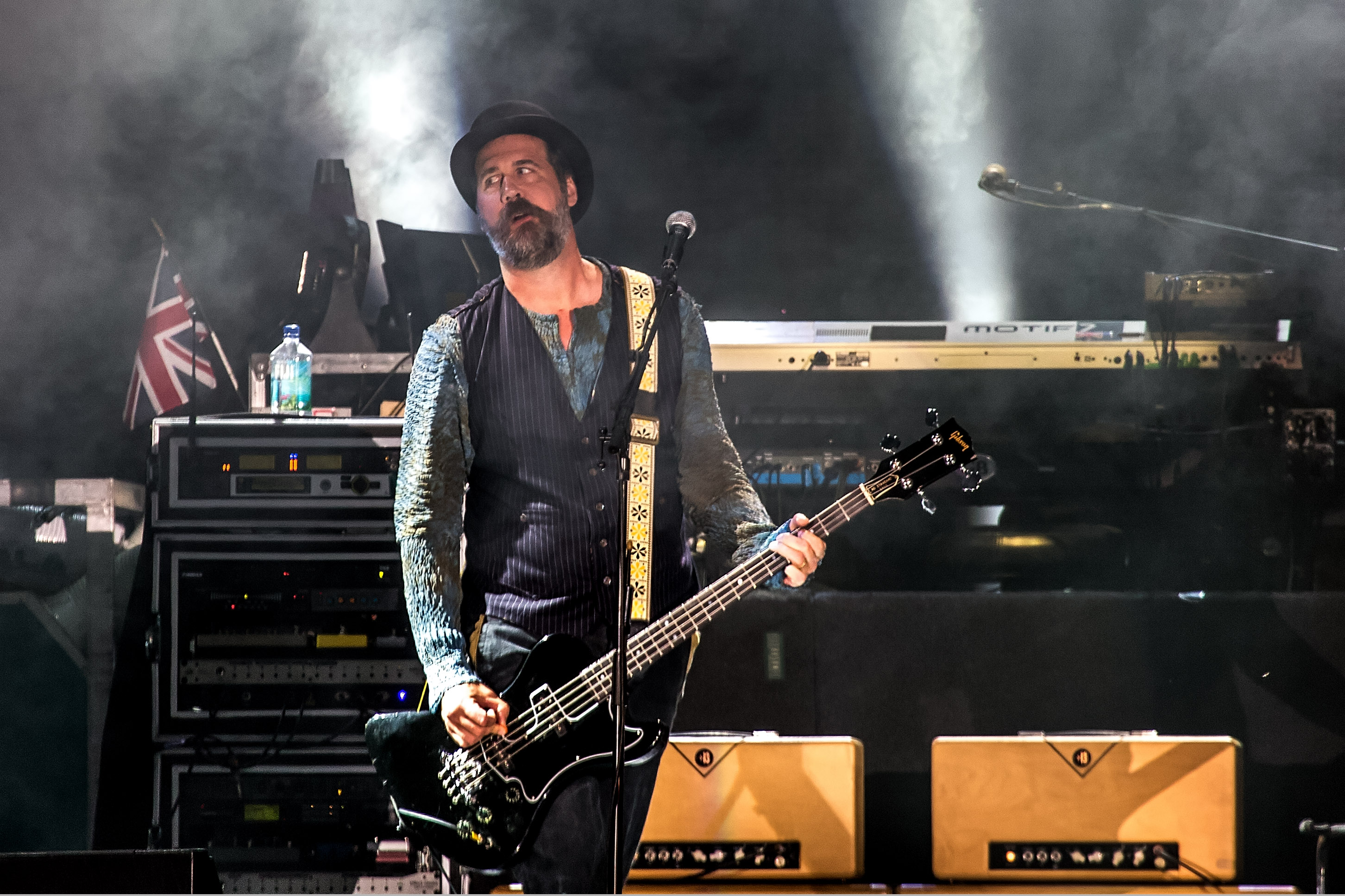 SEATTLE, WA - JULY 19:  Krist Novoselic performs live at Safeco Field on July 19, 2013 in Seattle, Washington.  (Photo by Suz