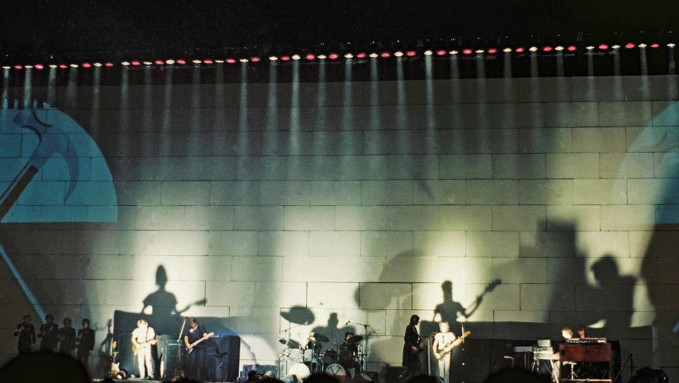 LONDON, UNITED KINGDOM - AUGUST 7: Pink Floyd perform on stage at Earls Court Arena on 'The Wall' tour, on August 7th, 1980 i