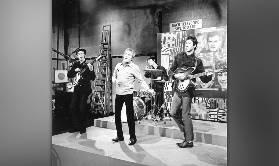 British rock group The Who performing on the TV pop music show 'Ready Steady Go!', London, 1965. Left to right: John Entwistl
