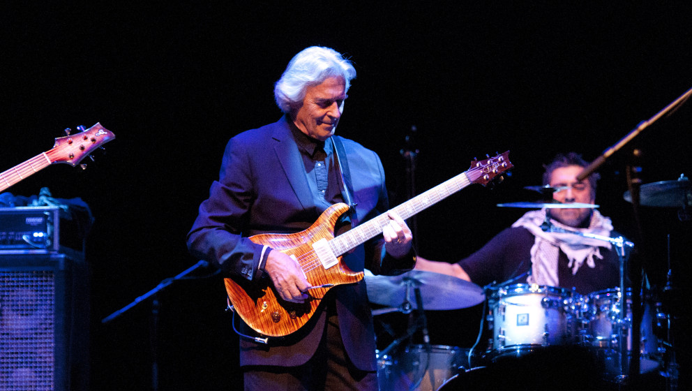 LONDON, UNITED KINGDOM - NOVEMBER 11: John McLaughlin performs on stage at Barbican for the London Jazz Festival on November