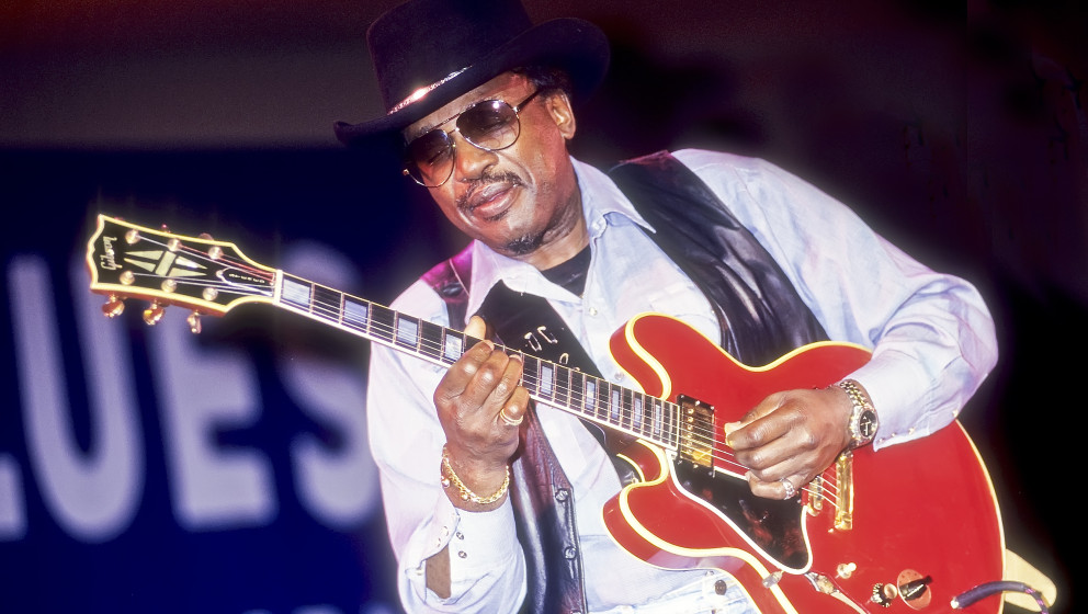 American blues musician Otis Rush plays guitar during a performance at the 12th Annual Chicago Blues Festival on Grant Park's
