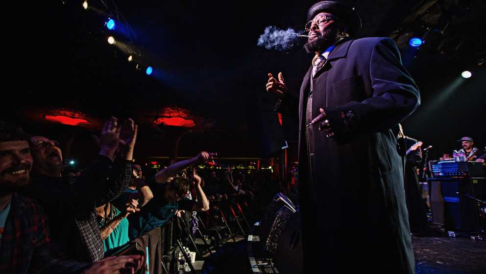 SEATTLE, WA - MARCH 23:  George Clinton smokes a joint while he performs at Showbox Market on March 23, 2013 in Seattle, Wash