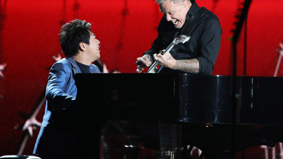LOS ANGELES, CA - JANUARY 26:  Lang Lang, James Hetfield of Metallica perform onstage during the 56th GRAMMY Awards held at S