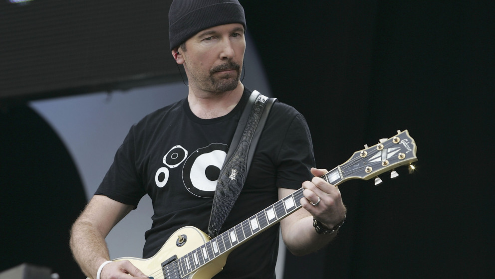 LONDON - JULY 02:  The Edge performs on stage at 'Live 8 London' in Hyde Park on July 2, 2005 in London, England.  The free c
