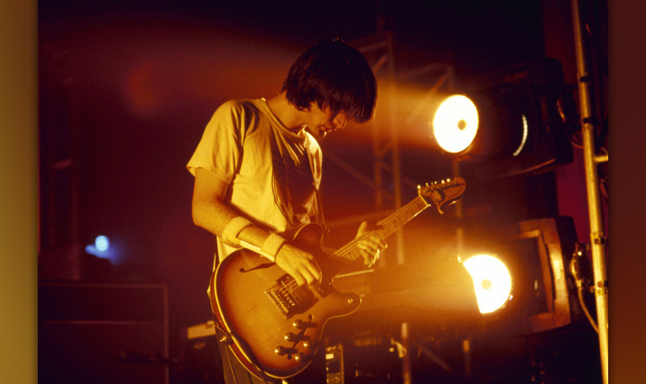 UNSPECIFIED - SEPTEMBER 01:  Photo of RADIOHEAD and Jonny GREENWOOD; Jonny Greenwood performing live onstage, playing Fender
