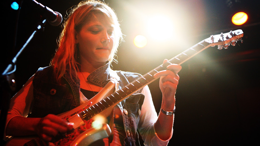 NEW YORK - OCTOBER 25:  Singer/guitarist Marnie Stern performs onstage during the CMJ Music Marathon  at Bowery Ballroom on O