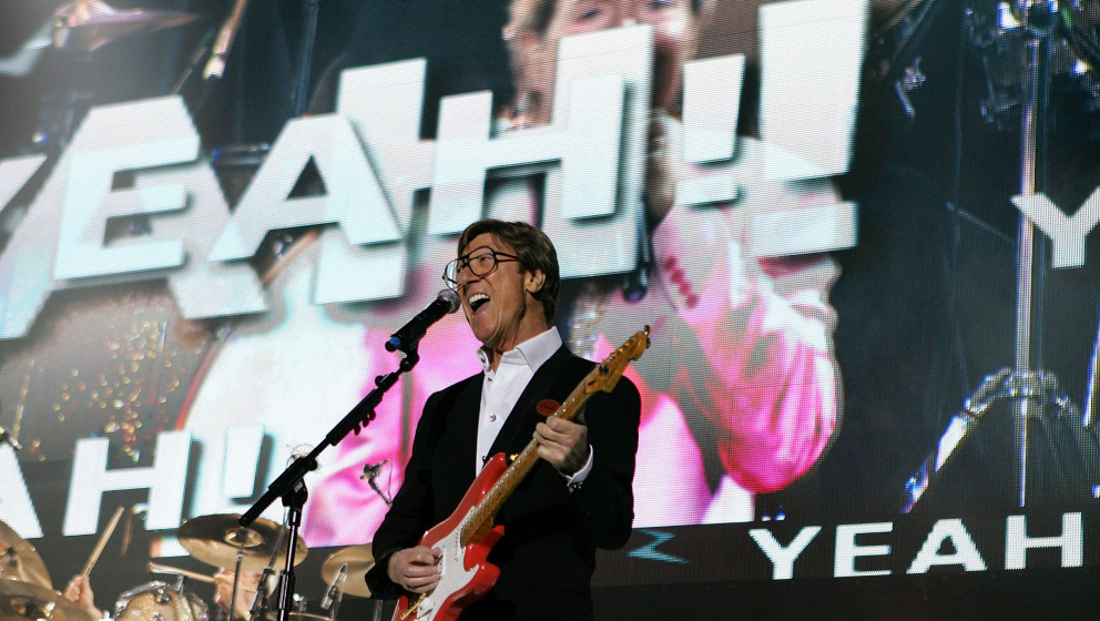 LONDON, ENGLAND - SEPTEMBER 28:  Hank Marvin of  The Shadows performs live on stage at the O2 Arena on September 28, 2009 in
