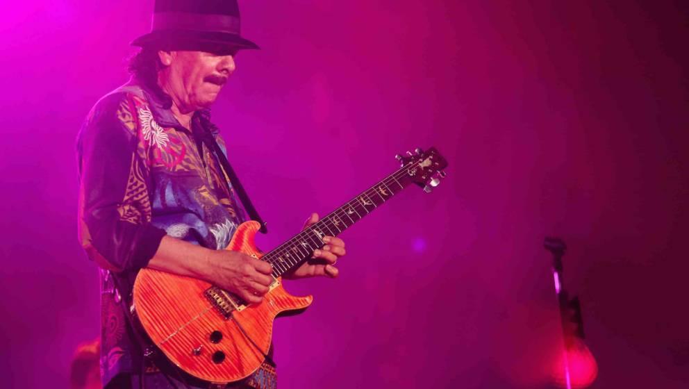 MEXICO CITY, MEXICO - MARCH 28:  Carlos Santana performs a free concert at Angel de la Independencia monument on March 28, 20