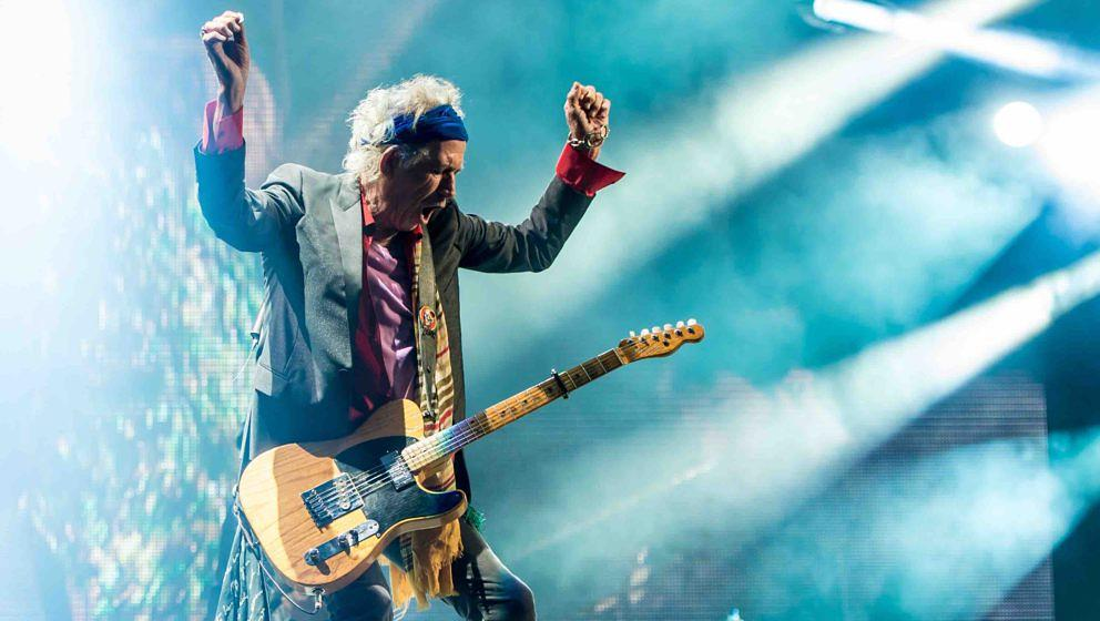 GLASTONBURY, ENGLAND - JUNE 29: Keith Richards of The Rolling Stones performs  on the Pyramid Stage during day 3 of the 2013