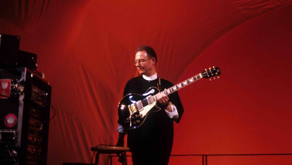 Robert Fripp performs at World Trade Center, New York, May 24, 1992. (Photo by Steve Eichner/Getty Images)