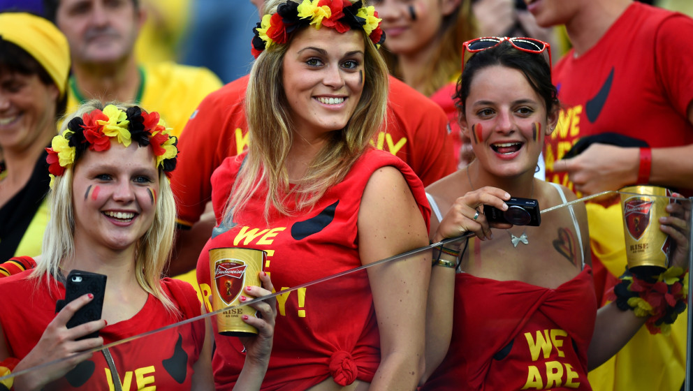 SAO PAULO, BRAZIL - JUNE 26:  Belgium fans pose during the 2014 FIFA World Cup Brazil Group H match between South Korea and B