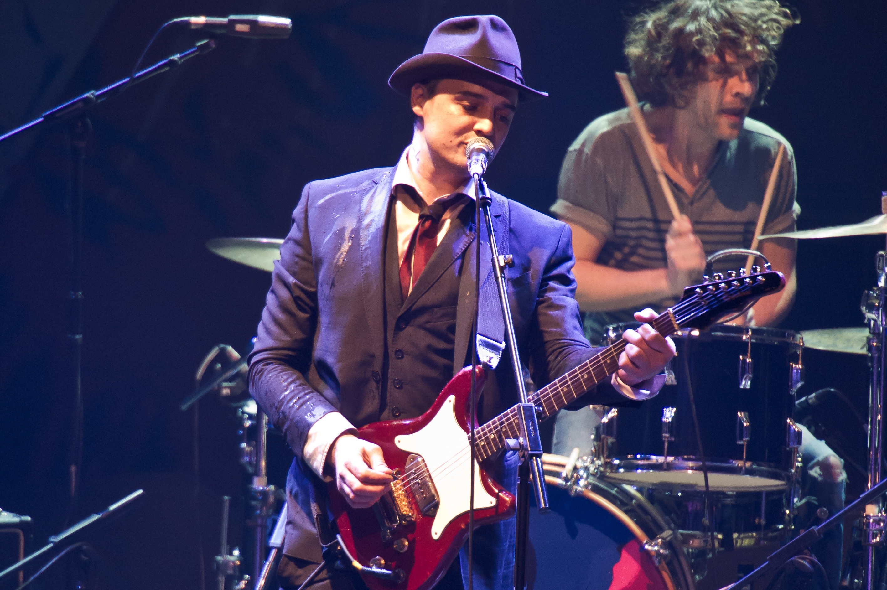 LONDON, UNITED KINGDOM - MARCH 10: Pete Doherty of Babyshambles performs on stage at The Roundhouse on March 10, 2014 in Lond