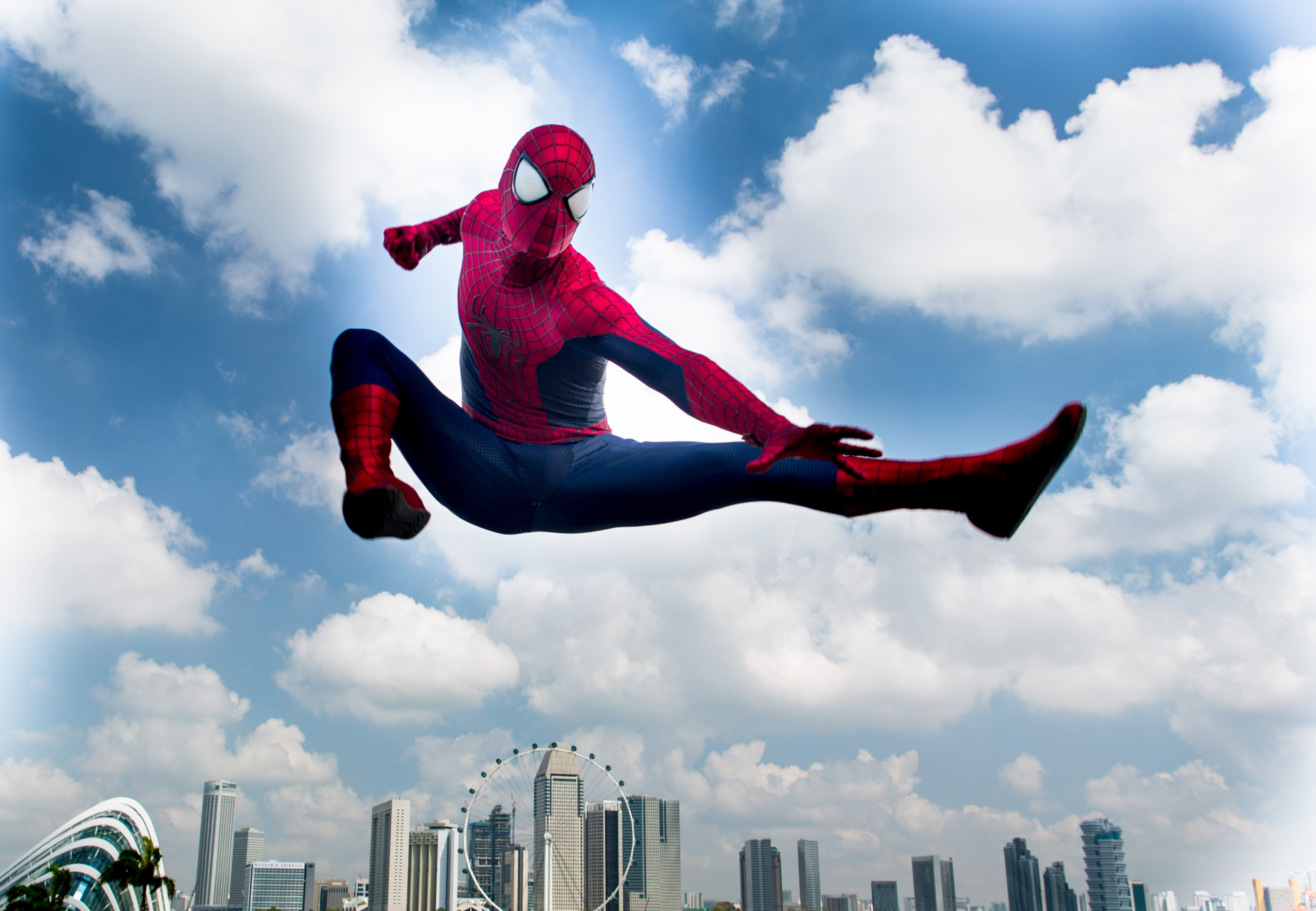 SINGAPORE - MARCH 27:  (EDITORS NOTE: This image has been retouched.) (EXCLUSIVE COVERAGE) Spider-Man explores Singapore duri