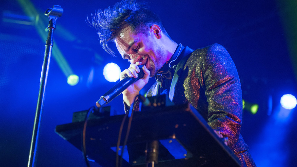 GLASGOW, UNITED KINGDOM - MAY 07: Brendon Urie of Panic! at the Disco performs on stage at O2 Academy on May 7, 2014 in Glasg