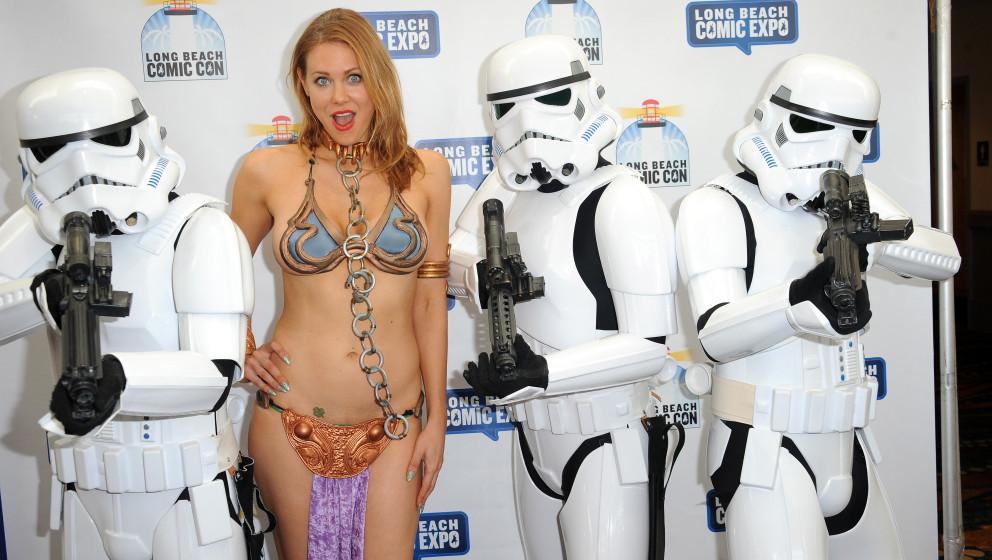 LONG BEACH, CA - MAY 31:  Actress Maitland Ward dressed as Slave Leia from Star Wars The Return of the Jedi poses with Stormt