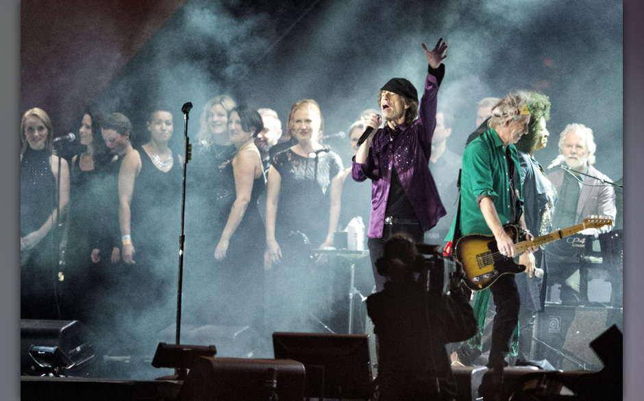 British band The Rolling Stones open the Orange Stage at the Roskilde Festival 2014, southwest of Copenhagen, Denmark, 03 Jul
