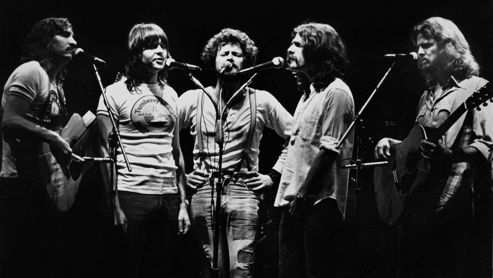 Joe Walsh, Randy Meisner, Don Henley, Glenn Frey and Don Felder of The Eagles perform on stage at Ahoy on May 11th 1977 in Ro
