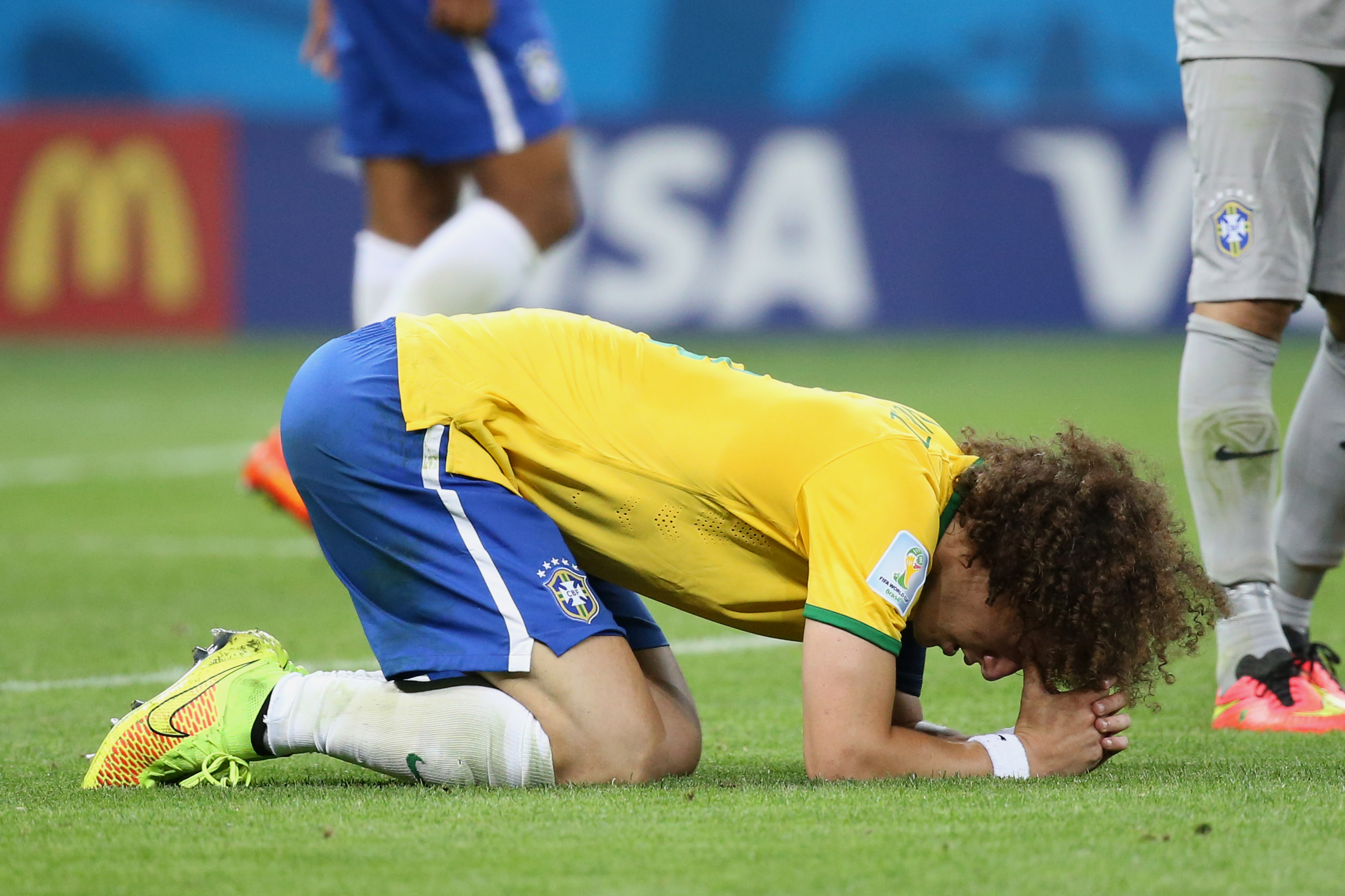BELO HORIZONTE, BRAZIL - JULY 8: David Luiz of Brazil looks dejected after the 2014 FIFA World Cup Brazil Semi Final match be