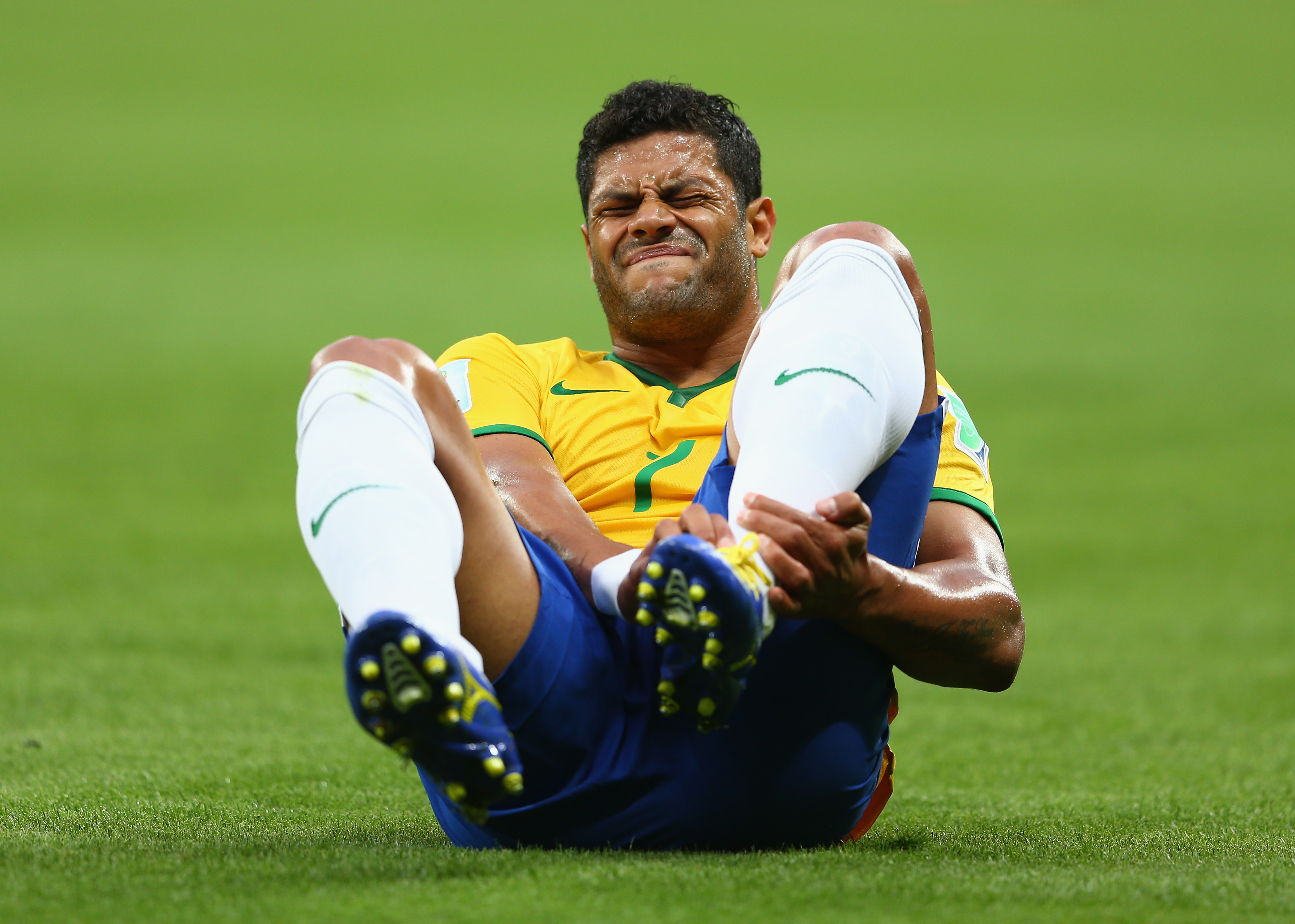 BELO HORIZONTE, BRAZIL - JULY 08:  Hulk of Brazil reacts during the 2014 FIFA World Cup Brazil Semi Final match between Brazi