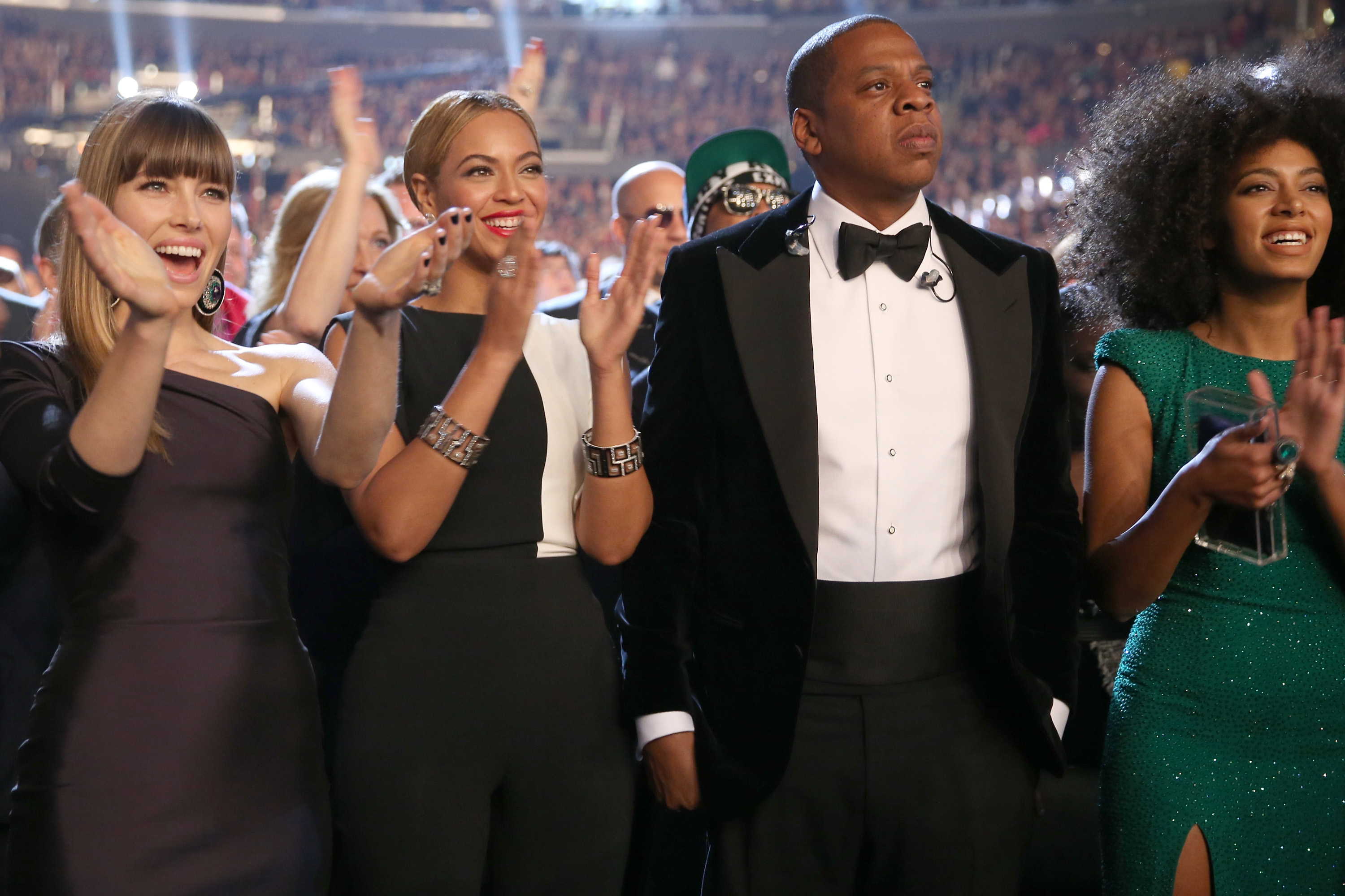 LOS ANGELES, CA - FEBRUARY 10:  (L-R) Actress Jessica Biel, singer Beyonce, rapper Jay-Z and singer Solange Knowles attend th