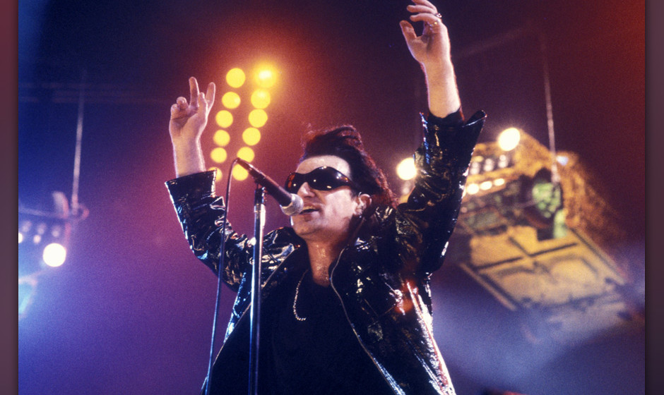 ROTTERDAM,  NETHERLANDS-JUNE 15: singer Bono ( U2) performs at Ahoy on  15th june 1992 in Rotterdam,  the Netherlands. (photo