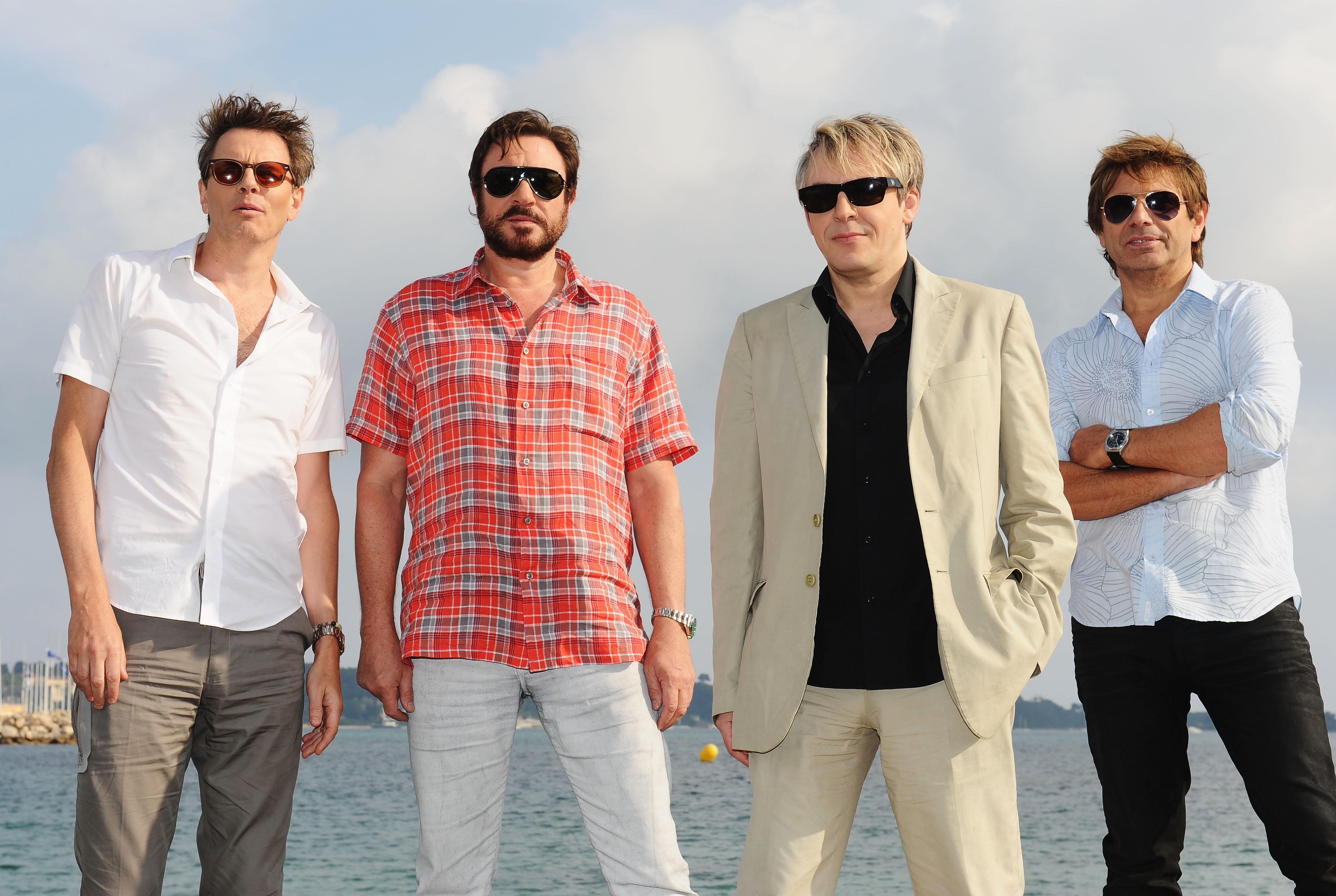 CANNES, FRANCE - MAY 13:  (L-R) John Taylor, Simon Le Bon, Nick Rhodes, Roger Taylor of  Duran Duran poses at a photocall dur