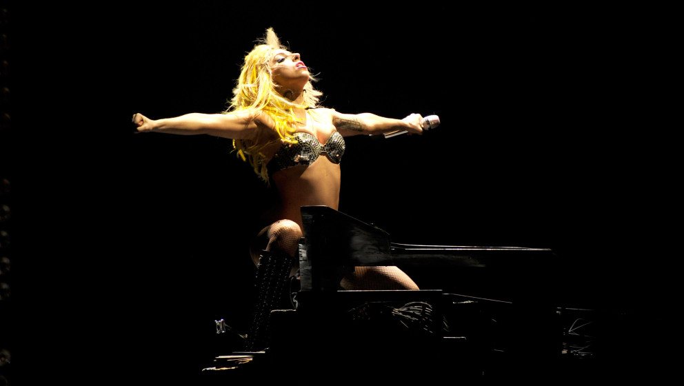 Lady Gaga performs during the 2010 Lollapalooza music festival at Grant Park on August 6, 2010 in Chicago, Illinois.