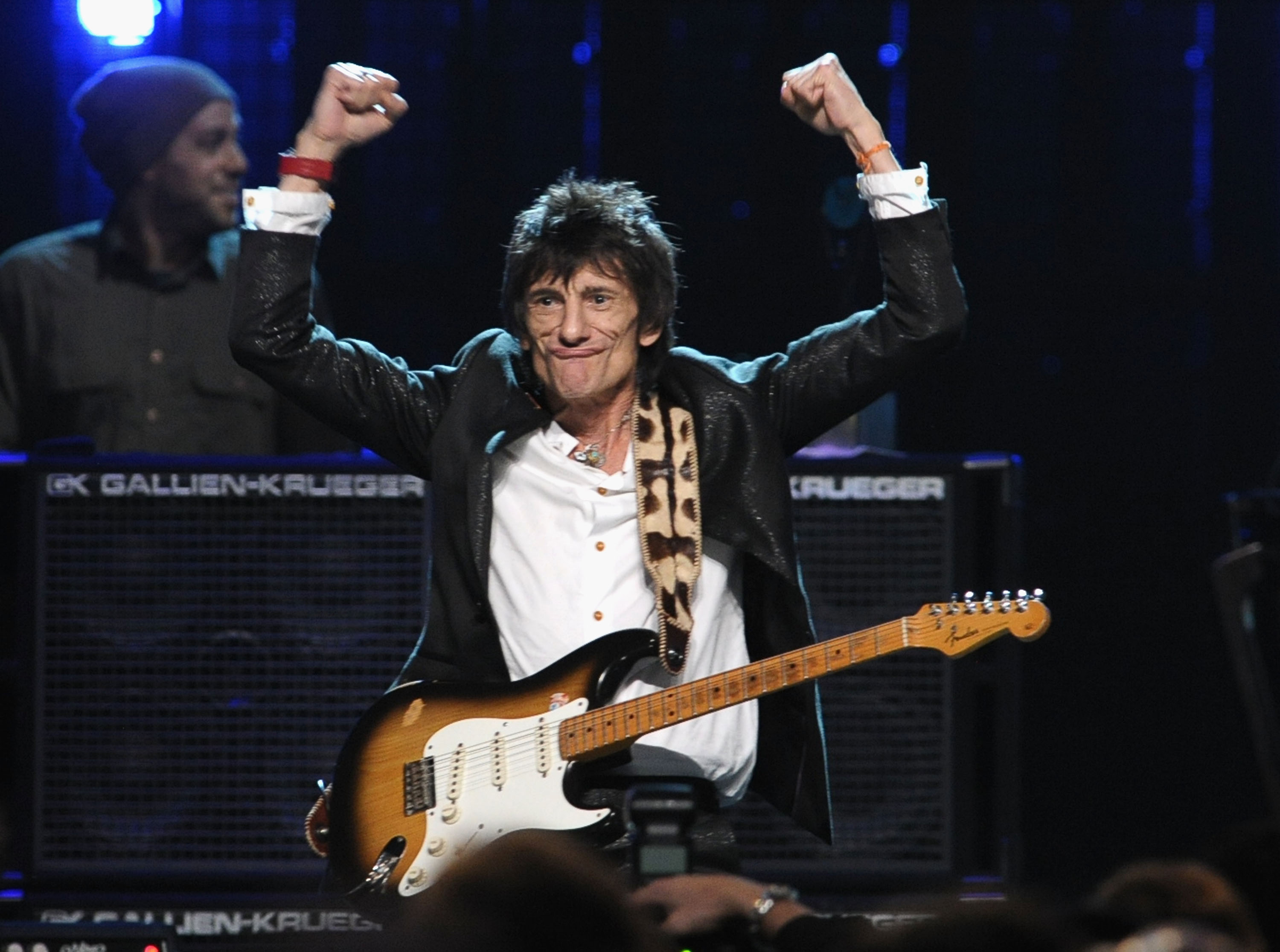 CLEVELAND, OH - APRIL 14:  Inductee Ron Wood of Faces performs on stage during the 27th Annual Rock And Roll Hall Of Fame Ind