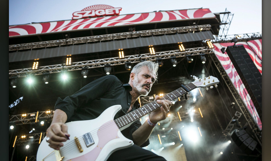 epa04358218 Vocalist and guitarist Ruben Block of Belgian rock band Triggerfinger performs at the 22nd Sziget (Island) Festiv