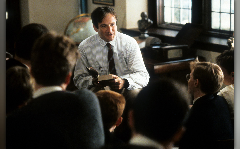 Robin Williams teaching a class in a scene from the film 'Dead Poets Society', 1989. (Photo by Touchstone Pictures/Getty Imag