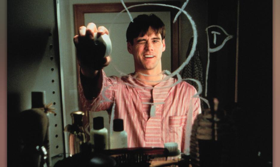 Die Truman Show (The Truman Show, USA 1998, Regie: Peter Weir) Jim Carrey / Mann vor Badezimmerspiegel, Spiegel, spiegeln, Sp