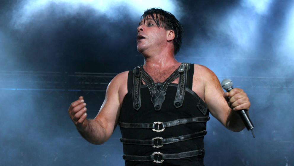 Till Lindemann of Rammstein performs live at Fields of Rock on June 18, 2005 in Nijmegen, Netherlands.