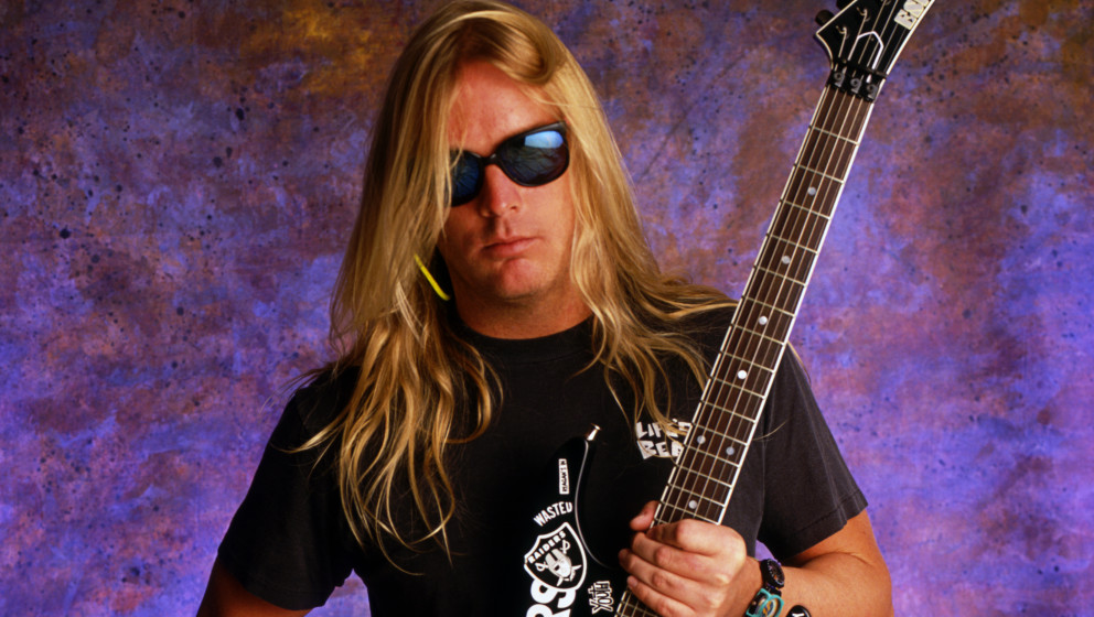 LOS ANGELES - APRIL 21, 1991:  Portrait session with Jeff Hanneman, founding member and lead guitarist for thrash metal band