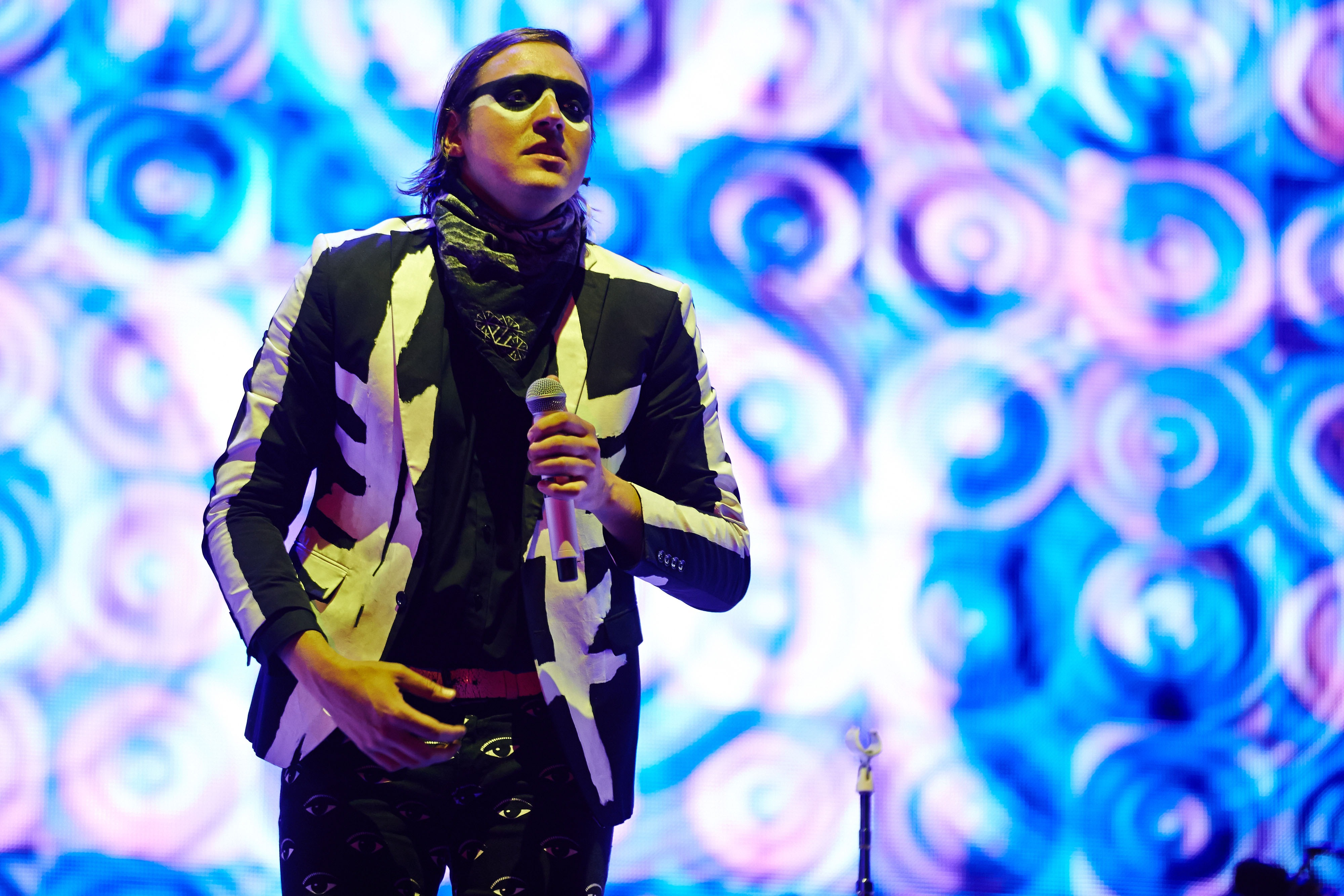 GLASTONBURY, UNITED KINGDOM - JUNE 27: Win Butler of Arcade Fire performs on Day 1 of the Glastonbury Festival at Worthy Farm